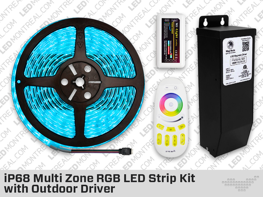 ip68 multi zone rgb led strip kit with outdoor driver magnetic driver. Black Bedroom Furniture Sets. Home Design Ideas