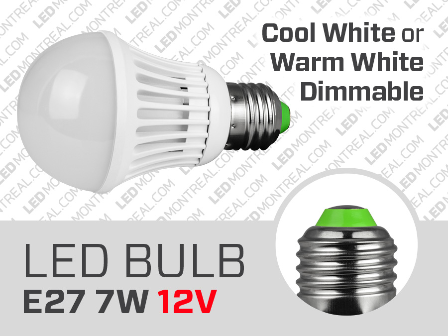 7w 12v dimmable e27 led light bulb magnet montreal. Black Bedroom Furniture Sets. Home Design Ideas