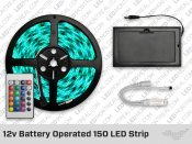 12v Battery Powered 150 LED Strip with 24 key Remote