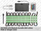 Battery Powered 20 LED Module Kit (60 LEDs) RGB or White