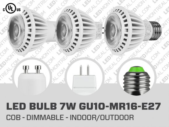 Ampoule LED COB 7 Watts Dimmable (GU10 MR16 E27)