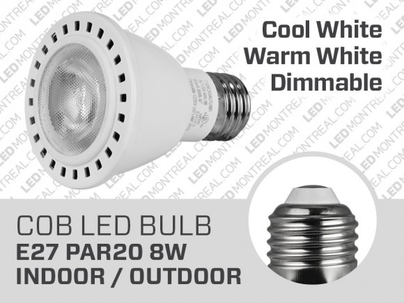 Ampoule COB LED CREE PAR20 de 8 watts Dimmable