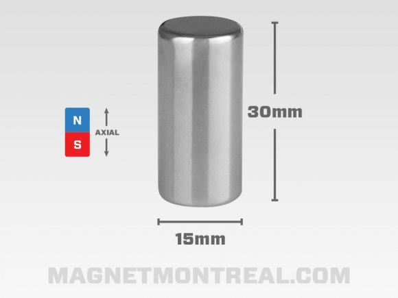 "Long Aimant Cylindrique au Néodymium de 30mm de long (1.18"")"