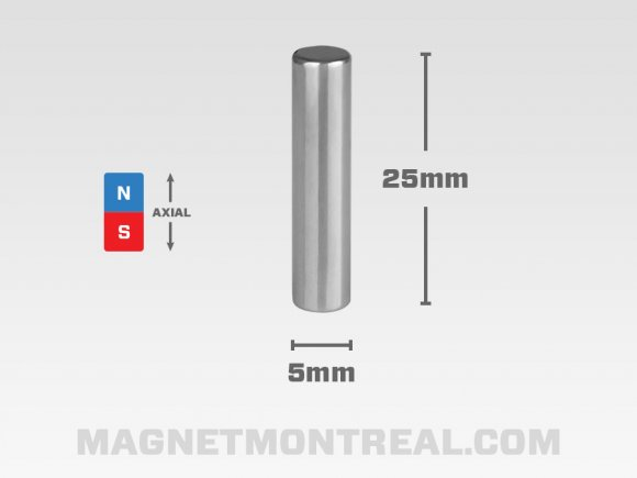 "Long etMinceAimant Cylindrique au Néodymium de 25mm de long (0.98"")"