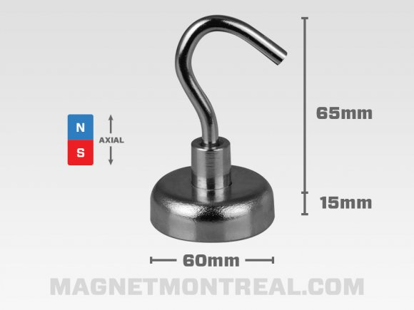 "Neodymium Mounting Hook Magnet, 60mm wide x 15mm thick (2.36"" x 0.6"")"