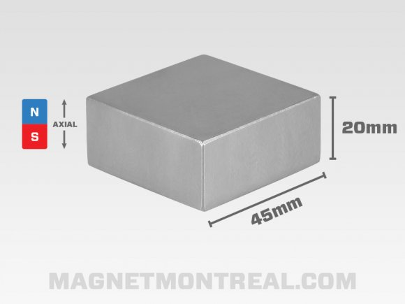 "Extra Large Rectangle Neodymium magnet 4.5cm wide (1.77"" wide)"