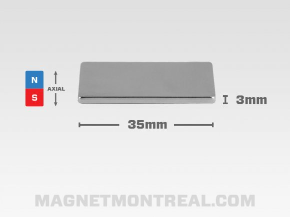 "Mince Aimant Rectangle au Néodymium 3.5 cm de long (1.38"")"
