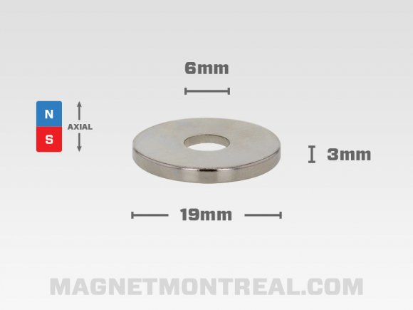 "Ring Magnet, 19mm diameter x 3mm thick (0.98"" x 0.75"")"