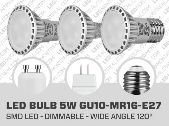 Ampoule LED SMD 5 Watts Dimmable (GU10 MR16 E27)