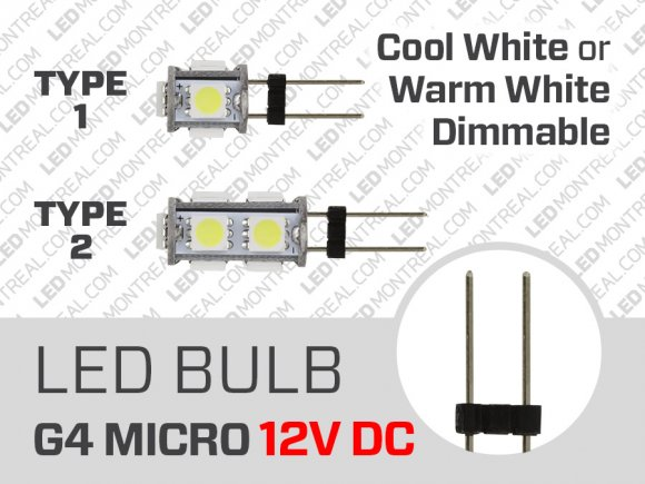 LED Bulb MICRO G4 12V-DC 0.5 to 1 Watt Dimmable