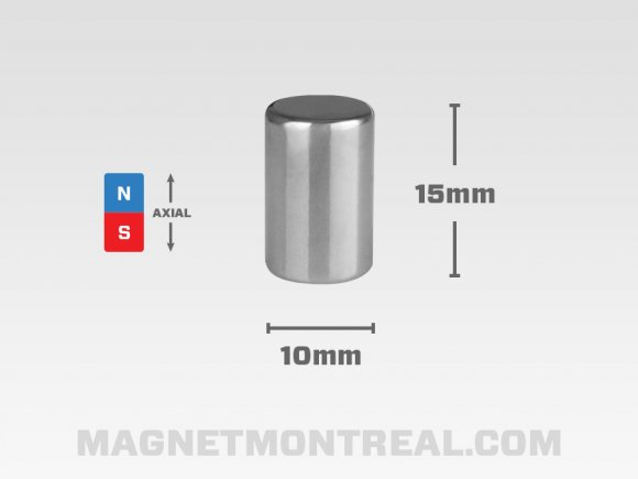 "Long Aimant Cylindrique au Néodymium de 25mm de long (0.98"")"